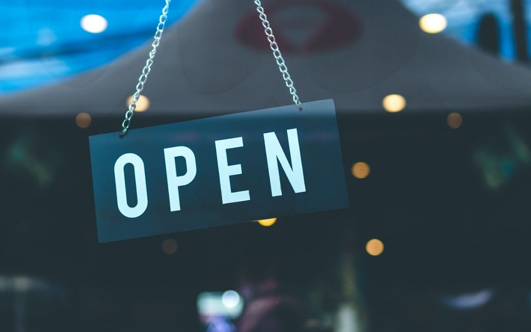 Open sign on a storefront window